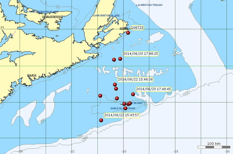 Location of grey seals deployed from Sable Is.