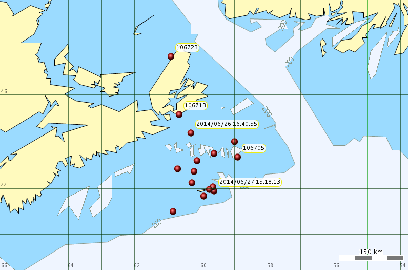 Location of Sable Is. grey seals