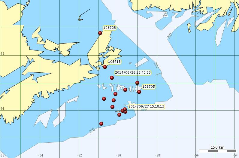 Location of Sable Is. grey seals