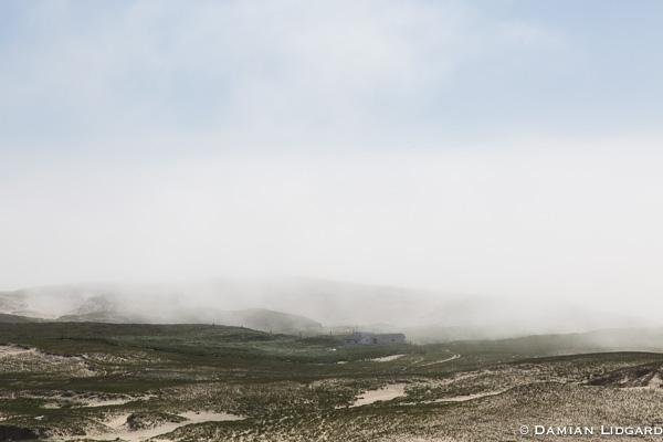 East light camp in fog